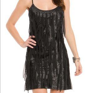 Guess Black mini beaded fringe dress size 5